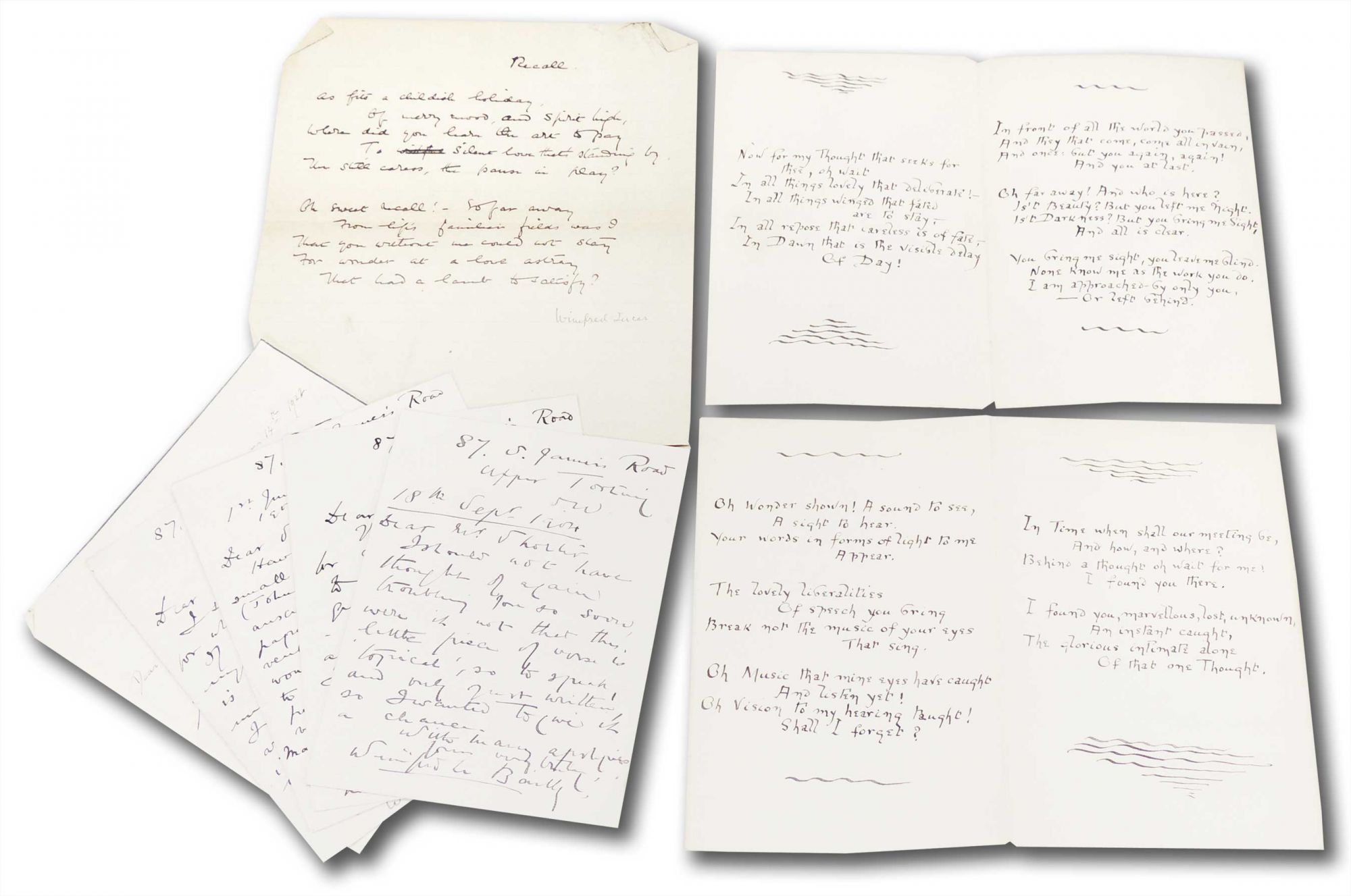 Poems, with small collection of handwritten letters and