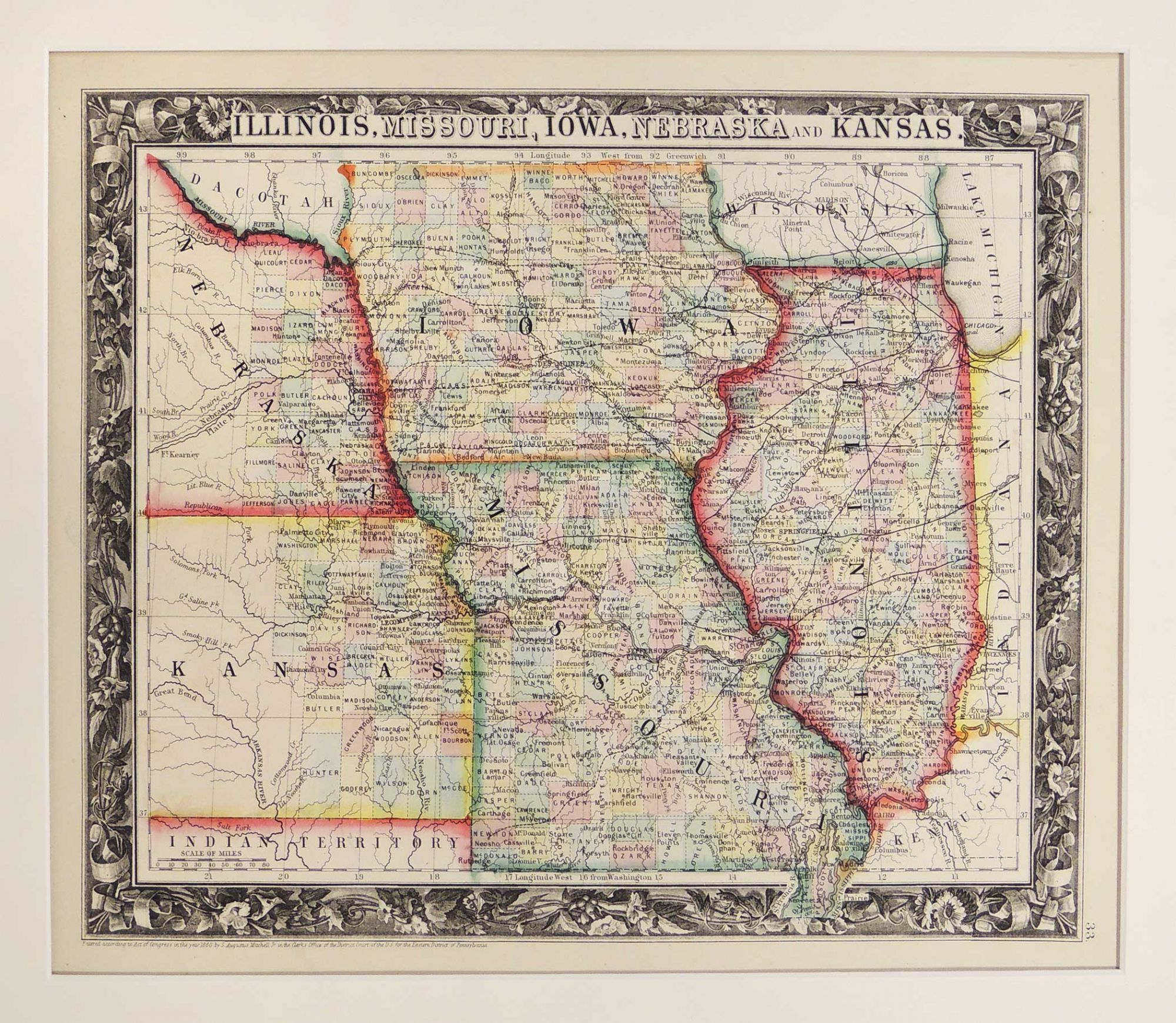 Map of Illinois, Missouri, Iowa, Neska and Kansas | Samuel ... Map Of Illinois And Iowa on