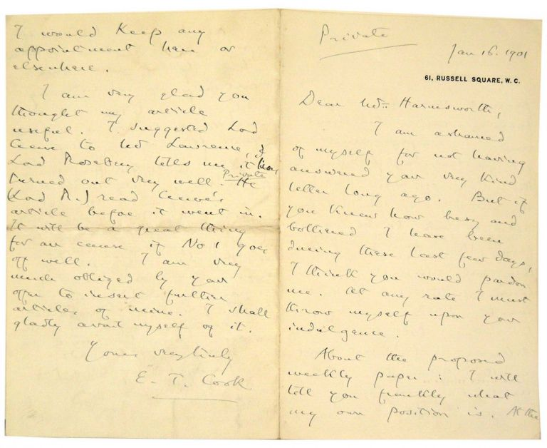 Autograph Letter Signed to Alfred Harmsworth. E. T. Cook, Edward Tyas.