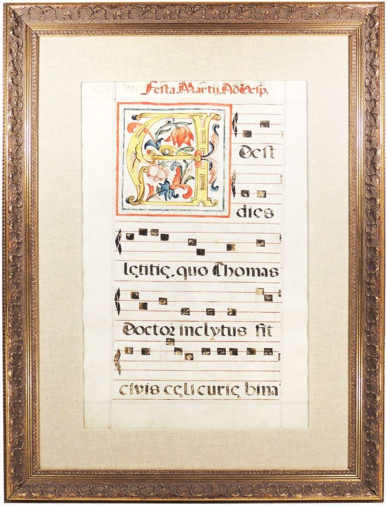 Leaf from a medieval antiphonal or choir missal. Unknown.