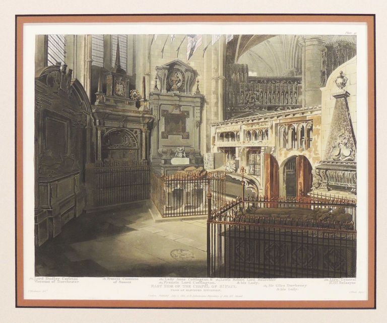 Aquatint-Engraving of the East Side of the Chapel of St. Paul from The History of the Abbey Church or St. Peter's Westminster: Its Antiques and Monuments. Rudolph Ackermann.
