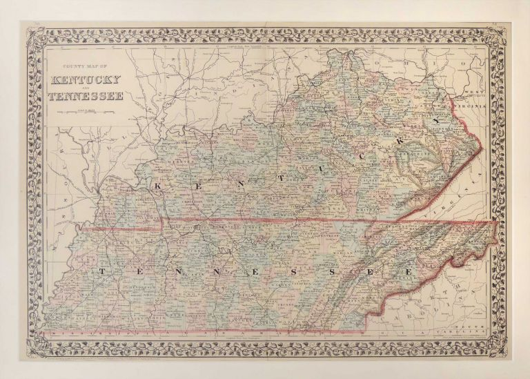 Map of Kentucky and Tennessee. Samuel Augustus Mitchell.