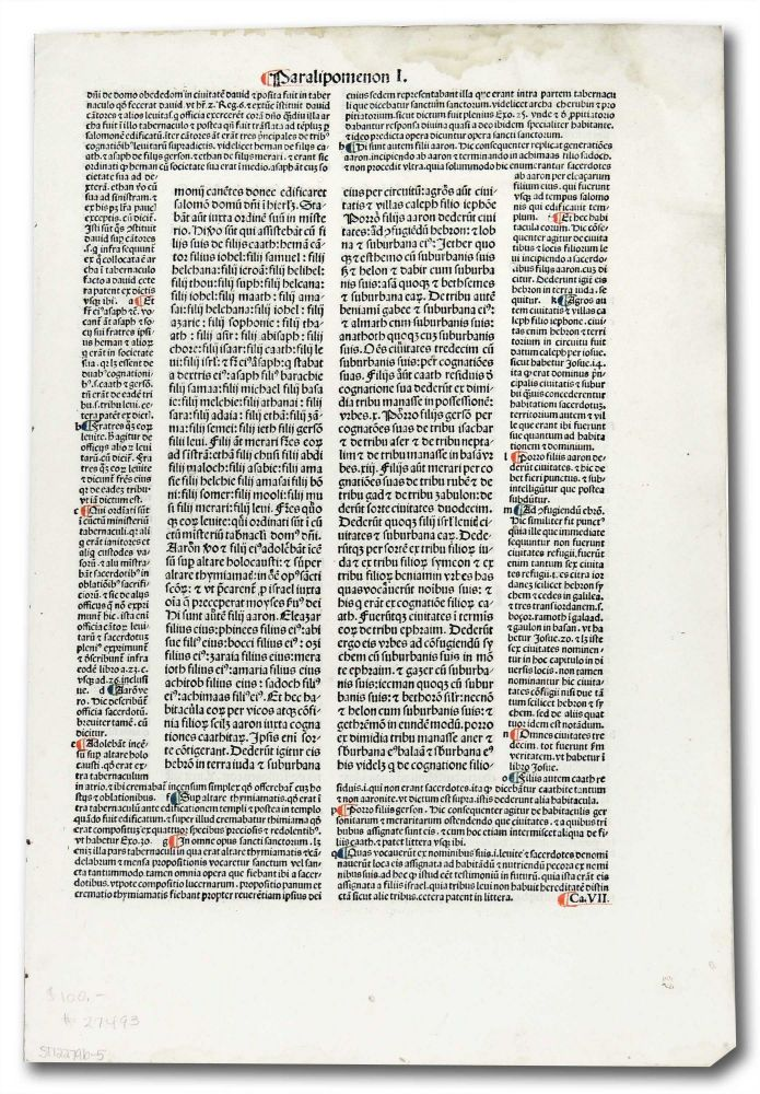 Incunable Leaf with page heading of Paralipomenon I. Unknown.