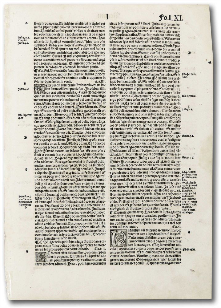 Incunable leaf Regum fo.LXI. Unknown.