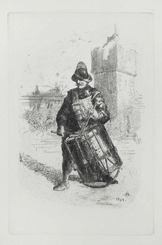 "Etching of ""The Drummer"" M. J. Artist Lawless."