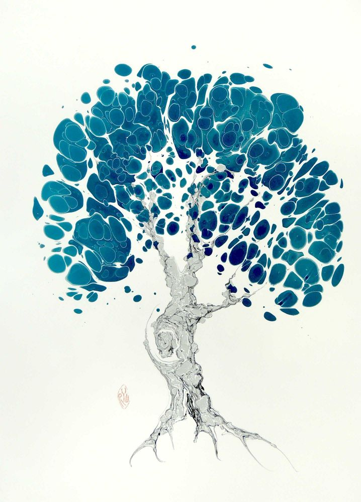 Turquoise Tree Original Marbled Graphic. Robert Wu.