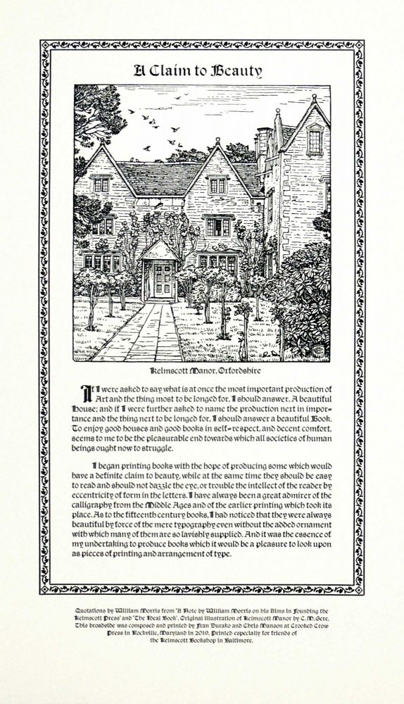 A Claim to Beauty (Broadside). Crooked Crow Press, William Morris.