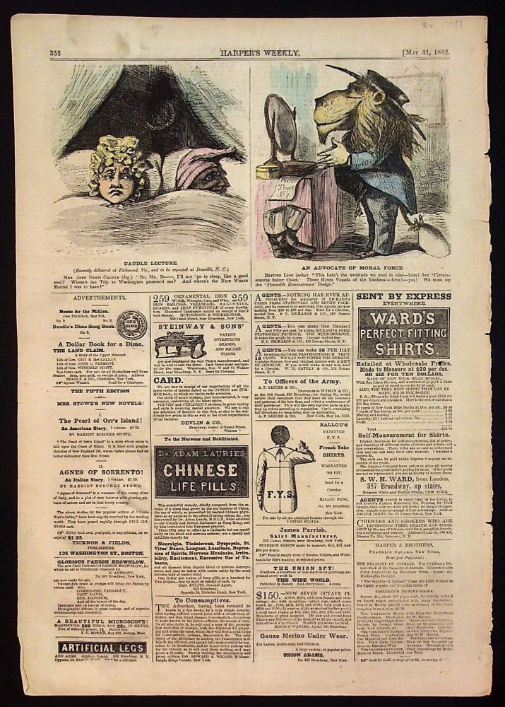 Harper's Weekly: May 31, 1862 Hand Colored Cartoons (1 page only)