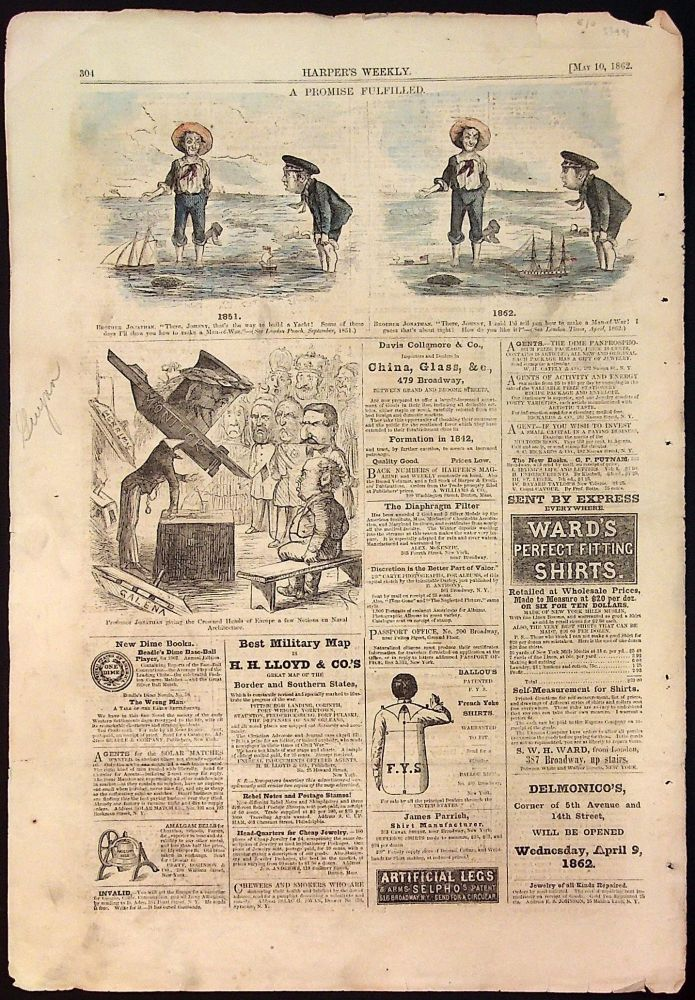 Harper's Weekly: May 10, 1862 Hand Colored Cartoons (1 page only)