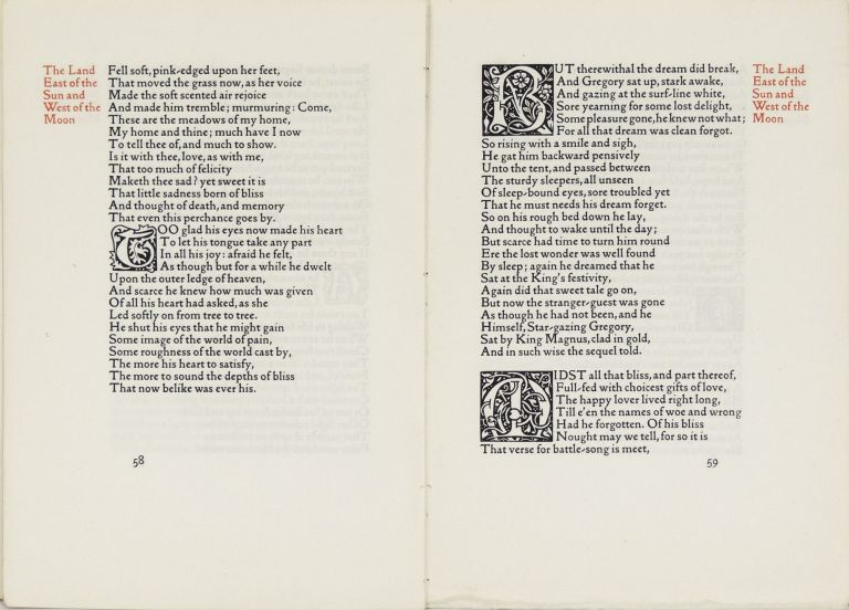 Eight leaves from The Earthly Paradise. Kelmscott Press, William Morris.