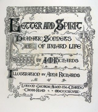 Letter and Spirit: Dramatic Sonnets of Inward Life