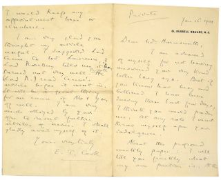 Autograph Letter Signed to Alfred Harmsworth. E. T. Cook, Edward Tyas