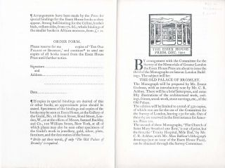 Essex House Prospectus and Order Form for The Old Palace of Bromley. Essex House Press, Ernest...