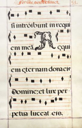 Leaf from a medieval antiphonal or choir missal