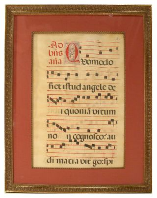 Leaf from Medieval Antiphonal. Unknown.