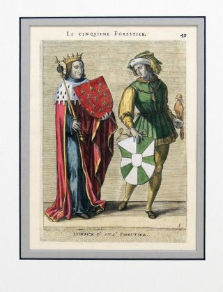 Print of The Fifth Forestier of Flanders from The Genealogies and Descendents of Ancient Forest...