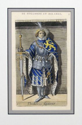 Print of the Count Theodoricus Aquintanice from Le Vies et Alliances des Comtes de Hollande et Zelande, Seignevrs de Frise. Philippe Galle.