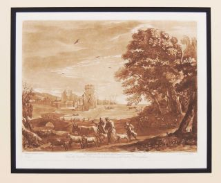 Mezzotint Landscape - Scene by the Sea. Claude Lorrain.
