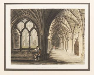 Aquatint-Engraving of the South East Angle of the Cloisters from The History of the Abbey...