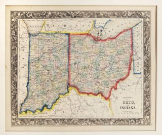 County Map of Ohio and Indiana. Samuel Augustus Mitchell
