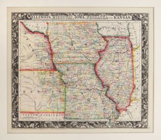 Map of Illinois, Missouri, Iowa, Nebraska and Kansas. Samuel Augustus Mitchell