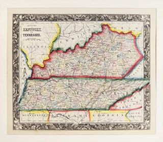 County Map of Kentucky and Tennessee. Samuel Augustus Mitchell
