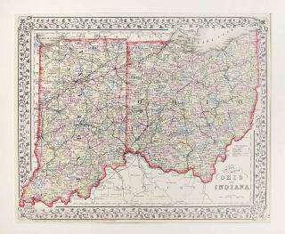 County Map of Ohio and Indiana. Samuel Augustus Mitchell.
