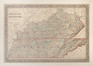 Map of Kentucky and Tennessee. Samuel Augustus Mitchell