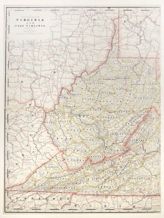 Map of Western Half of Virginia and West Virginia. George F. Cram