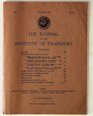 The Journal of the Institute of Transport. Institute of Transport