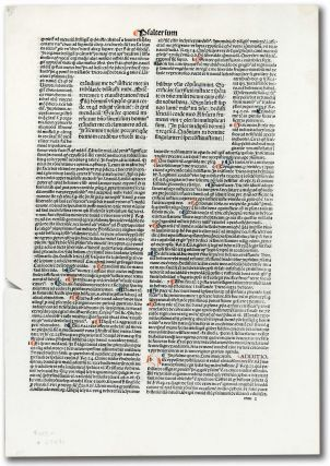 Incunable Leaf with page heading of Psalterium. Unknown