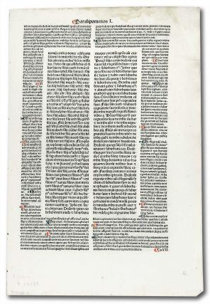 Incunable Leaf with page heading of Paralipomenon I. Unknown