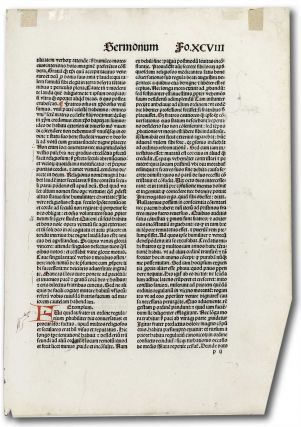 Incunable leaf Sermonum Fo.XCVIII. Unknown