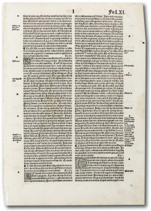 Incunable leaf Regum fo.LXI. Unknown