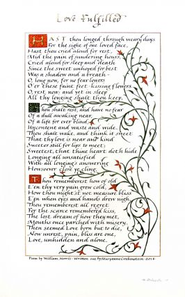 William Morris Broadside: Love Fulfilled. Maryanne Grebenstein, William Morris