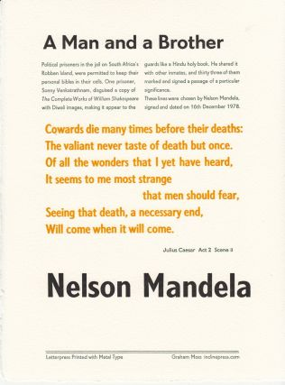 A Man and a Brother [Broadside with quote from Shakespeare[. Nelson Mandela.