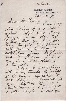 Autograph Letter to William Henry Rideing. Justin McCarthy