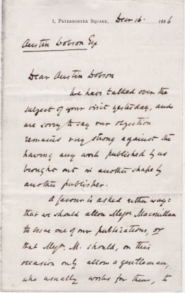 First page of letter to Austin Dobson