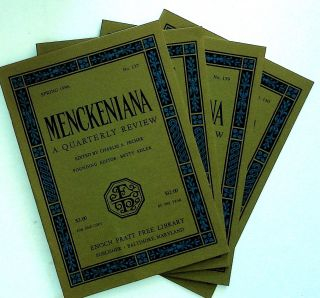 Menckeniana: A Quarterly Review. 4 issues from 1996: Spring, Summer, Fall, and Winter. Betty...
