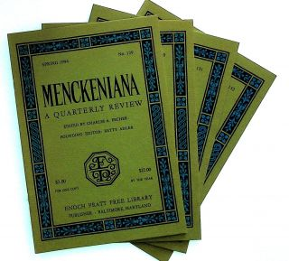 Menckeniana: A Quarterly Review. 4 issues from 1994: Spring, Summer, Fall, and Winter. Betty...