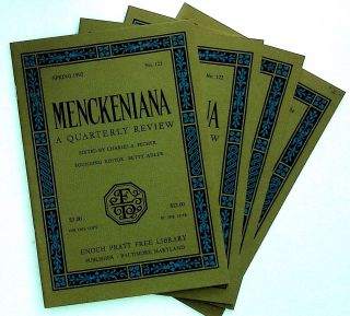 Menckeniana: A Quarterly Review. 4 issues from 1992: Spring, Summer, Fall, and Winter. Betty...