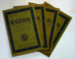 Menckeniana: A Quarterly Review. 4 issues from 1981: Spring, Summer, Fall, and Winter. Betty...