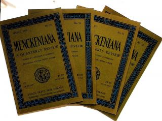Menckeniana: A Quarterly Review. 4 issues from 1975: Spring, Summer, Fall, and Winter. Betty...