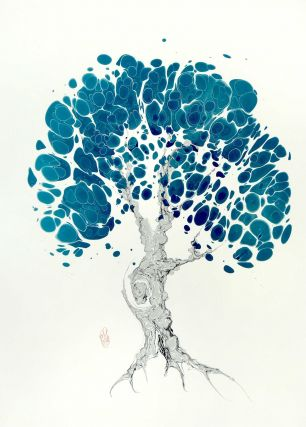 Turquoise Tree Original Marbled Graphic. Robert Wu