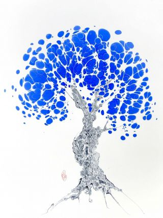 Blue Tree Original Marbled Graphic. Robert Wu