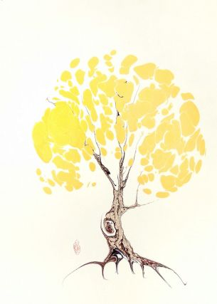Yellow Tree Original Marbled Graphic. Robert Wu