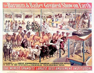 Barnum and Bailey Greatest Show on Earth Circus Poster. Barnum and Bailey