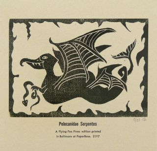 Pelecanidae Serpentes (Imaginary Bird) PRINT. Flying Fox Press, Susannah Horrom