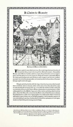 A Claim to Beauty (Broadside). Crooked Crow Press, William Morris