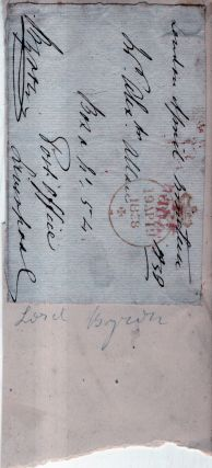 Free frank cover for Byron correspondence. George Anson Byron, 7th, ron